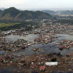 A village near the coast of Sumatra lays in ruin after the Tsunami that struck South East Asia
