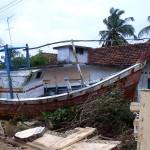 Fishermen's boat stranded in Kallady, Batticaloa, Sri Lanka.