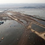 Tsunami flooding on the Sendai Airport runway