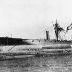 Peruvian corvette America, wrecked by the tsunami triggered by the 1868 Arica earthquake - gunboat USS Wateree visible in the background