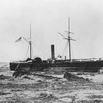 USS Wateree (1863) beached at Arica, Chile, 430 yards above the usual high water mark, after she was deposited there by a tidal wave on 13 August 1868.