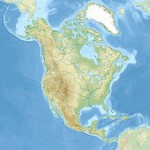 Relief location map of North America.