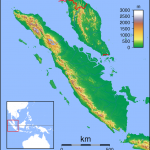 Topographic locator map of Sumatra.